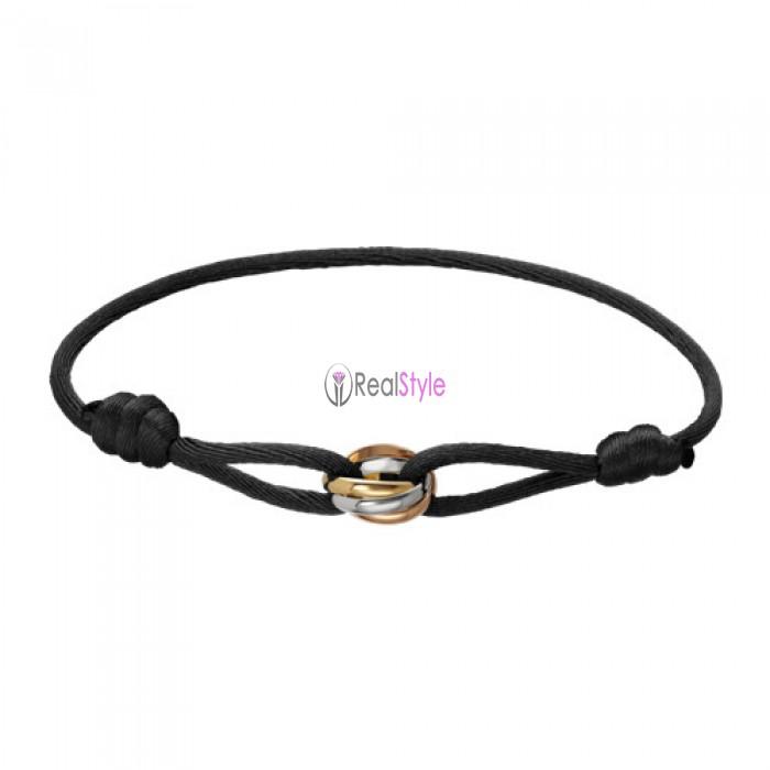 Trinity de cartier 3-gold black cotton rope bracelet B6016700 replica