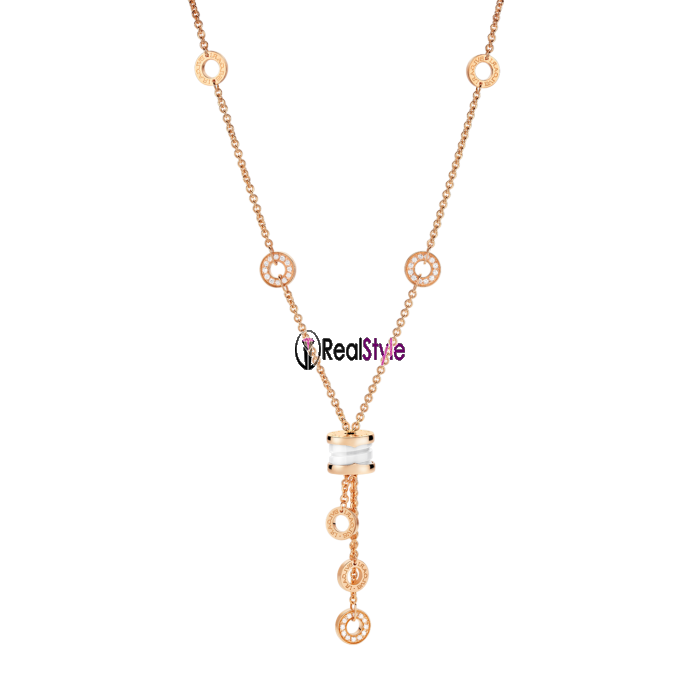 Bvlgari B.ZERO1 necklace pink gold white ceramic pendant CL856019 replica
