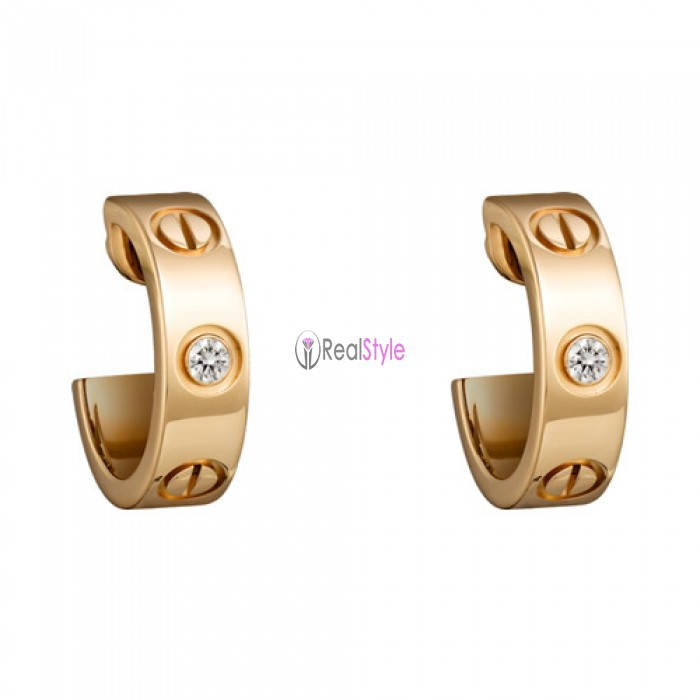 cartier love yellow gold earring inlaid with two diamonds B8022900 replica