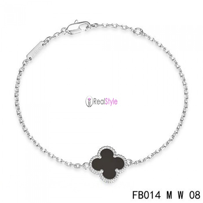 Van Cleef & Arpels Sweet Alhambra Clover Mini Black Onyx Bracelet in White Gold