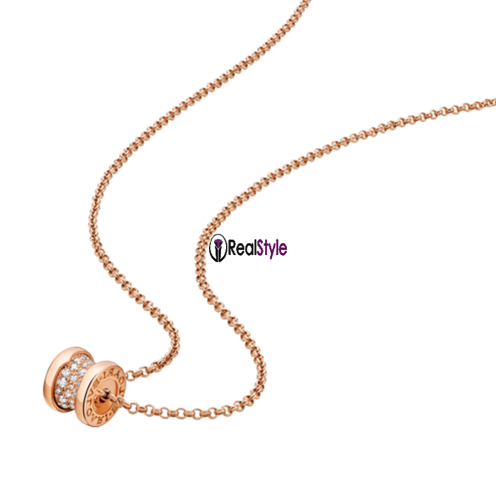 Bvlgari B.ZERO1 necklace pink gold paved with diamonds pendant CL857518 replica