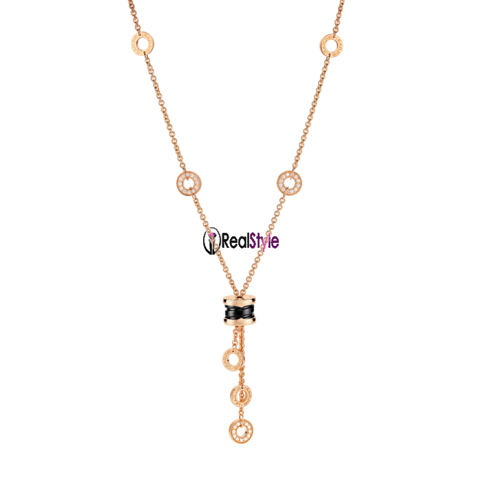 Bvlgari B.ZERO1 necklace pink gold black ceramic pendant CL856127 replica