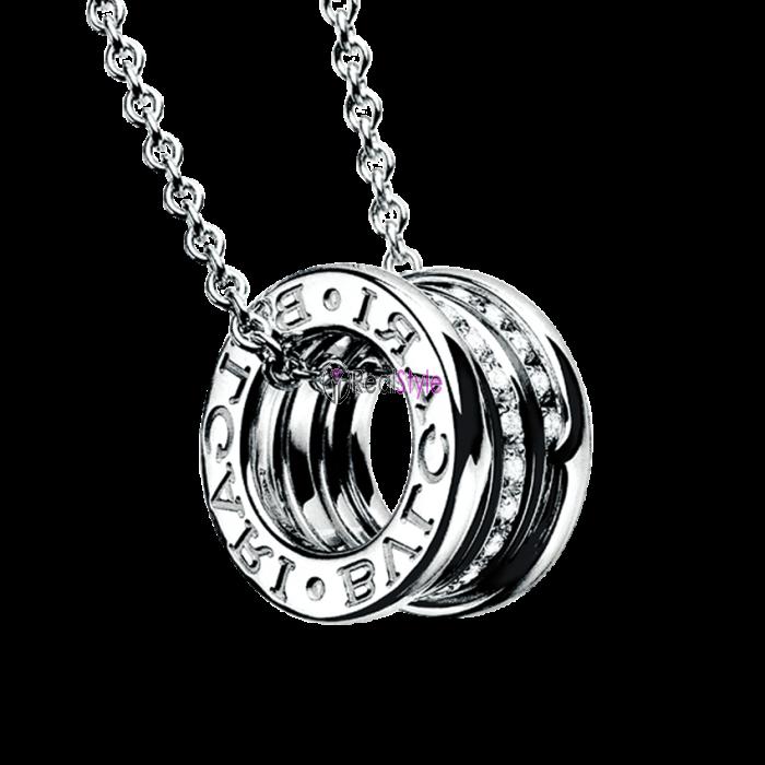 Bvlgari B.ZERO1 necklace white gold paved with diamonds pendant CL857833 replica