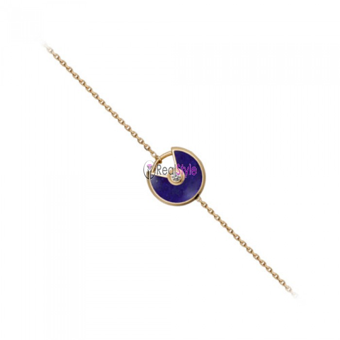 amulette de cartier yellow gold inlaid diamonds Lapis lazuli padlock design bracelet replica