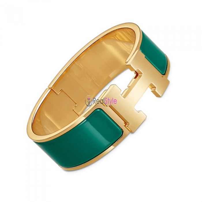 Hermes Clic Clac H bracelet yellow gold wide blue green enamel replica
