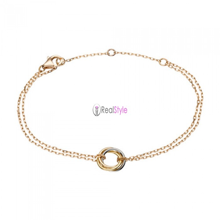 Trinity de cartier 18k pink gold ring pink gold chain bracelet replica