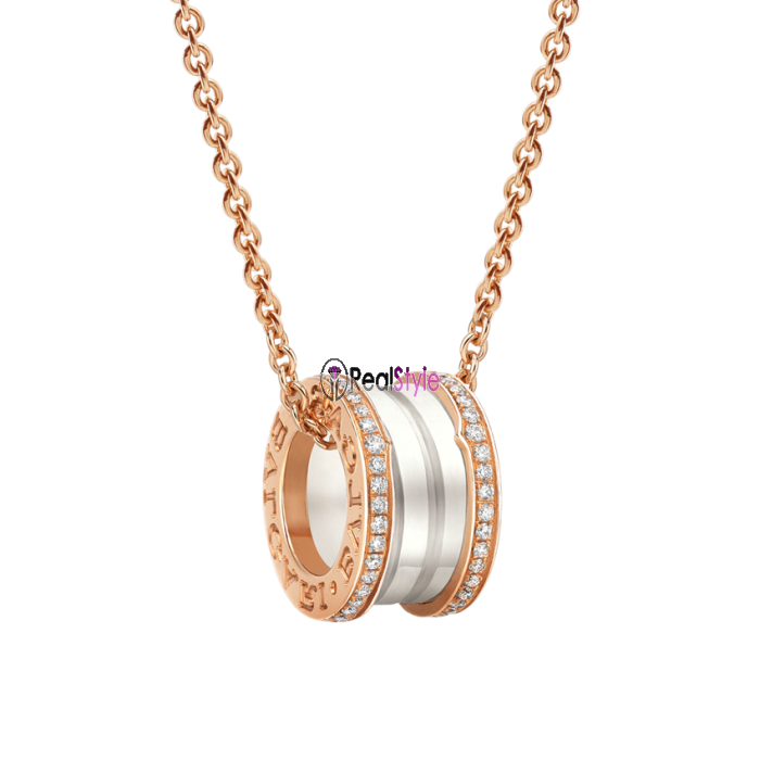 Bvlgari B.ZERO1 necklace pink gold white ceramic with pave diamonds pendant CL856794 replica