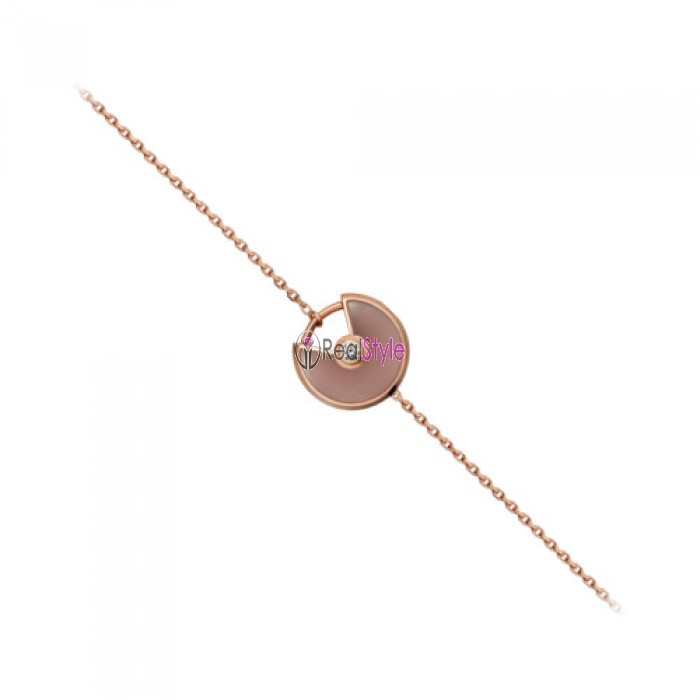 amulette de cartier rose gold inlaid diamonds pink opal padlock design bracelet replica