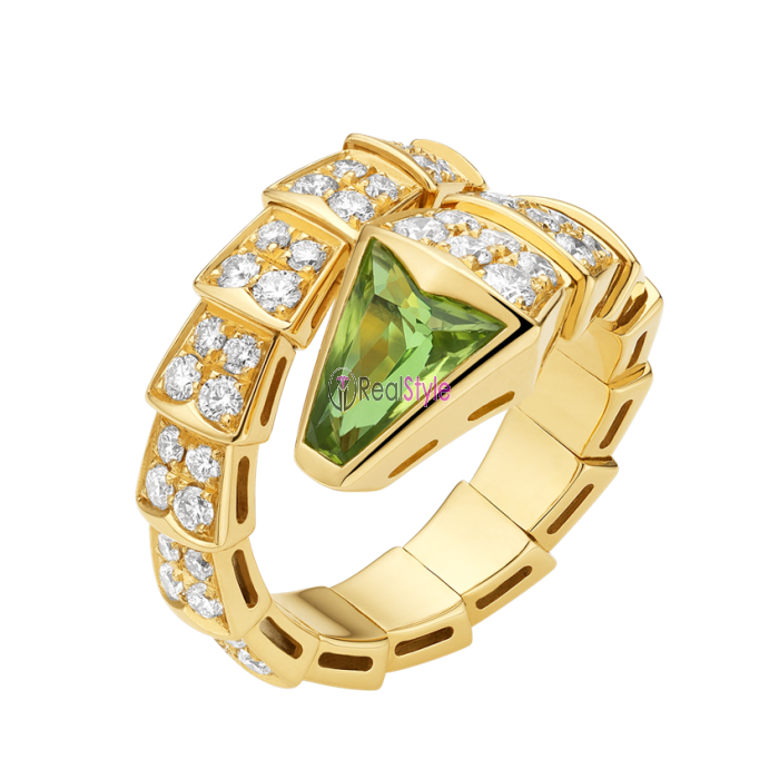 c6bbf7a5a61c6 Bvlgari Serpenti ring yellow gold with peridot head paved with diamonds  AN856157 replica ...