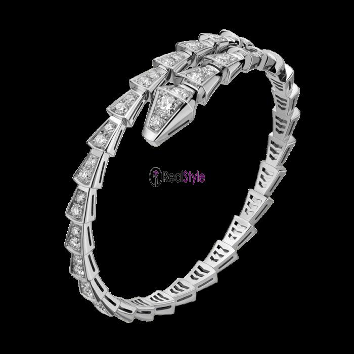 840c6e486e583 Bvlgari Serpenti Bracelet white gold Single helix Covered with diamonds  BR857492 replica ...