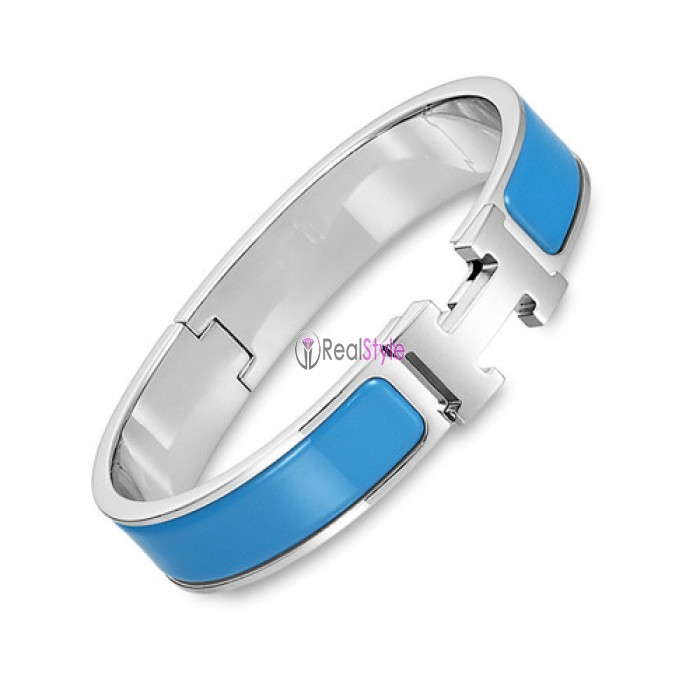 Hermes clic H bracelet white gold narrow cielo blue enamel replica