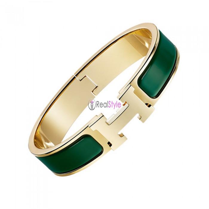 Hermes clic H bracelet yellow gold narrow pine green enamel replica