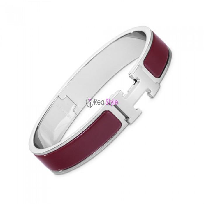Hermes clic H bracelet white gold narrow burgundy enamel replica