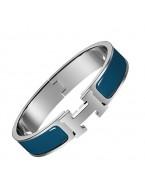 Hermes clic H bracelet white gold narrow Genoa blue enamel replica