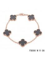 Van Cleef Arpels Pink Gold Vintage Alhambra Bracelet 5 Motifs Black Onyx