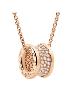 Bvlgari B.ZERO1 necklace pink gold paved with diamonds pendant CL856300 replica
