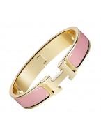 Hermes clic H bracelet yellow gold narrow crimson rose enamel replica