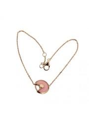 amulette de cartier rose gold inlaid diamonds pink opal padlock design bracelet replica