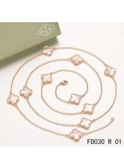 Van Cleef & Arpels Vintage Alhambra 10 Motifs White Mother of Pearl Long Necklace Pink Gold