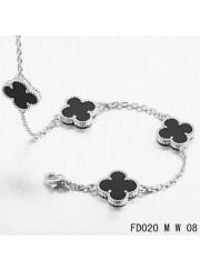 Van Cleef Arpels Vintage Alhambra Necklace White Gold 10 Motifs Black Onyx