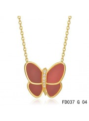 Van Cleef & Arpels Flying Butterfly Pendant,Yellow Gold,Red Onyx