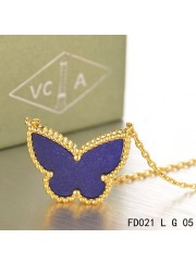 Van Cleef Arpels Lucky Alhambra Lapis lazuli Butterfly Necklace Yellow Gold