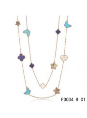 Van Cleef & Arpels Lucky Alhambra Long Necklace Pink Gold 11 Motifs Stone Combination