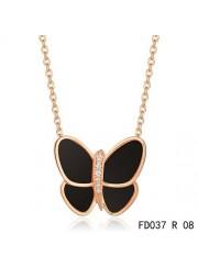 Van Cleef & Arpels Flying Butterfly Pendant,Pink Gold,Black Onyx