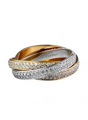 trinity de Cartier 3-gold ring 3 rings covered diamond N4227600 replica