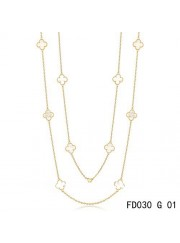 Van Cleef & Arpels Vintage Alhambra 10 Motifs White Mother of Pearl Long Necklace Yellow Gold