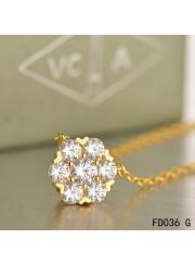 Van Cleef & Arpels Yellow Gold Floral Fleurette Pendant Necklace 7 Diamonds