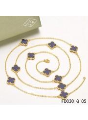 Van Cleef & Arpels Vintage Alhambra 10 Motifs Lapis lazuli Long Necklace Yellow Gold