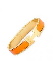 Hermes clic H bracelet yellow gold narrow orange enamel replica