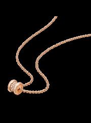 Bvlgari B.ZERO1 necklace pink gold paved with diamonds pendant CL857518 replica