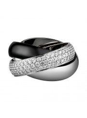 trinity de Cartier white gold ring covered diamond precision ceramics replica