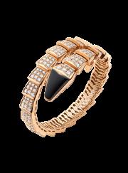 Bvlgari Serpenti Bracelet pink gold black onyx with diamonds BR855196 replica