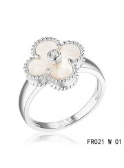 Van Cleef and Arpels Vintage Alhambra Ring White Gold White Mother of Pearl with Diamond