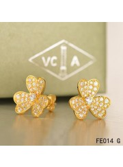 Van Cleef and Arpels Frivole Earrings Yellow Gold Pave Diamonds