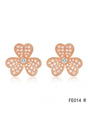 Van Cleef and Arpels Frivole Earrings Pink Gold Pave Diamonds