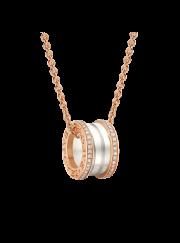 Bvlgari B.ZERO1 necklace pink gold white ceramic with pave diamonds pendant CL856794 replica