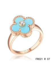 Van Cleef & Arpels Pink Gold Vintage Alhambra Ring Turquoise with Diamond