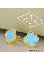 Van Cleef Arpels Yellow Gold Vintage Alhambra Turquoise Clover Earstuds