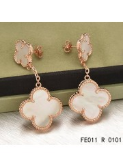 Van Cleef and Arpels Pink Gold Magic Alhambra 2 Motifs Earclips White Mother of Pearl