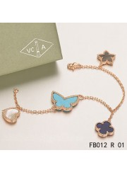 Lucky Alhambra Pink Gold Bracelet with 4 Stone Combination Motifs CSHB0624