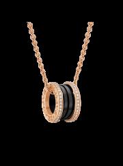 Bvlgari B.ZERO1 necklace pink gold black ceramic with pave diamonds pendant CL857026 replica