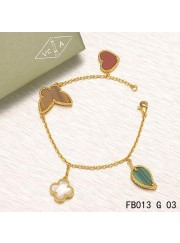 Lucky Alhambra Yellow Gold Bracelet with 4 Stone Combination Motifs HBLC2356