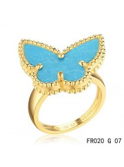 Van Cleef and Arpels Lucky Alhambra Butterfly Ring Yellow Gold with Turquoise