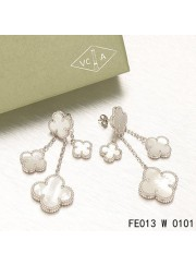 Van Cleef & Arpels White Gold Magic Alhambra Earclips,White Mother of Pearl 4 Motifs