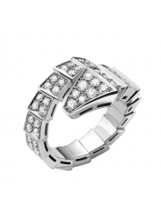 Bvlgari Serpenti ring white gold ring paved with diamonds AN855116 replica