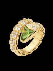 Bvlgari Serpenti ring yellow gold with peridot head paved with diamonds AN856157 replica